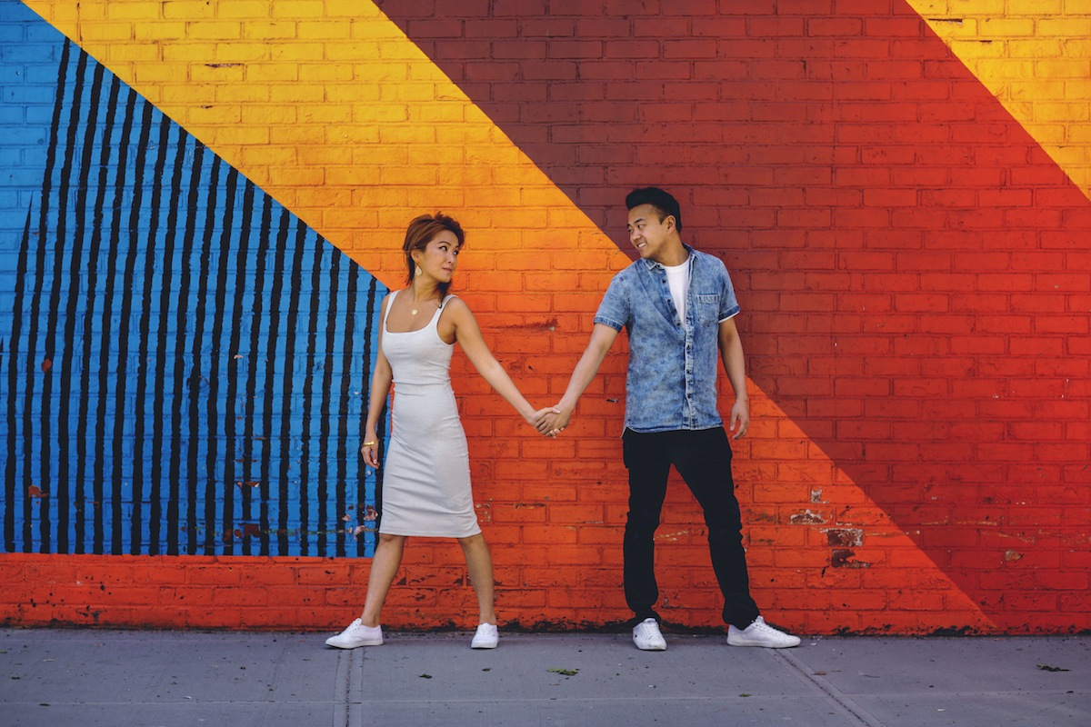 engaged-couple-colored-wall-brooklyn-ny-photography