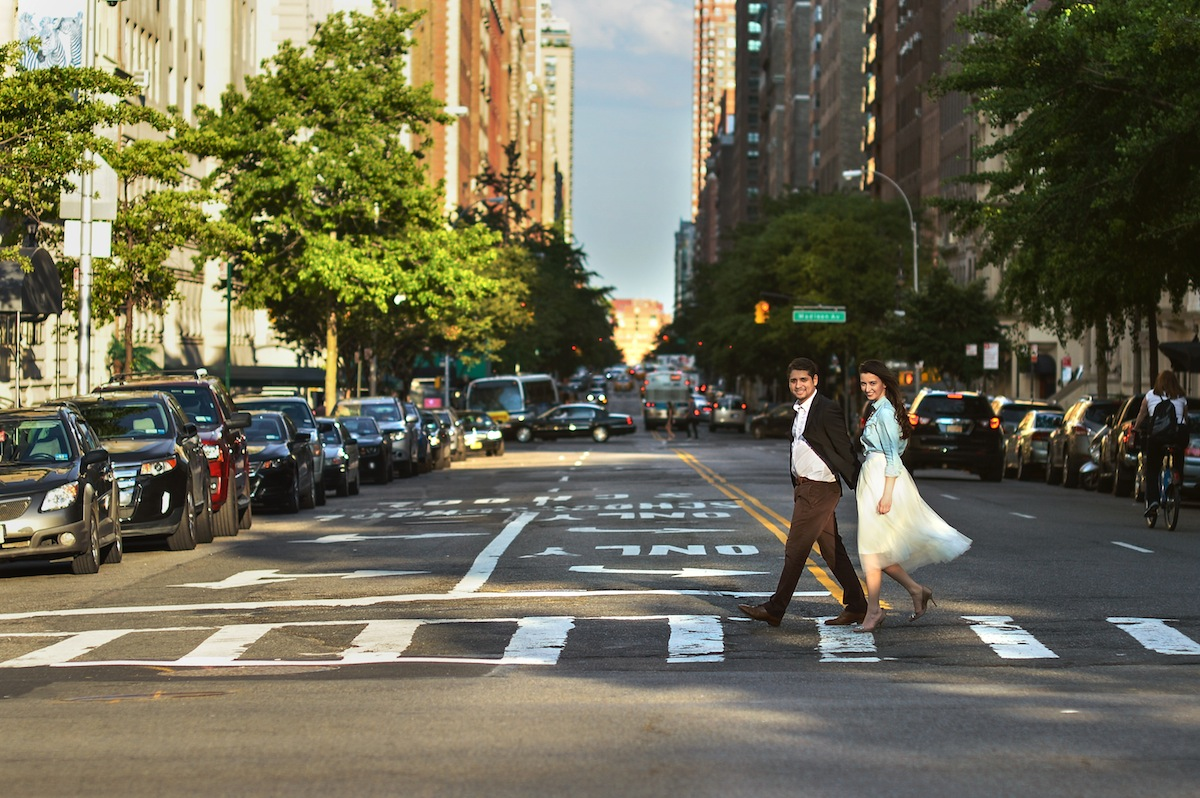 engaged-couple-crossing-street-in-ny-photography