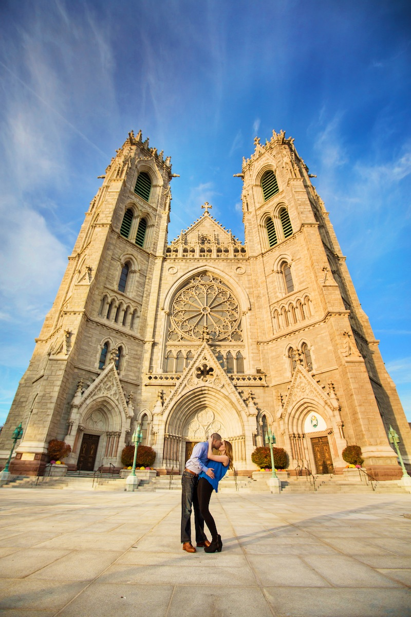 engaged-couple-kissing-in-front-of-sacred-heart-cathedral-newark-nj-photography