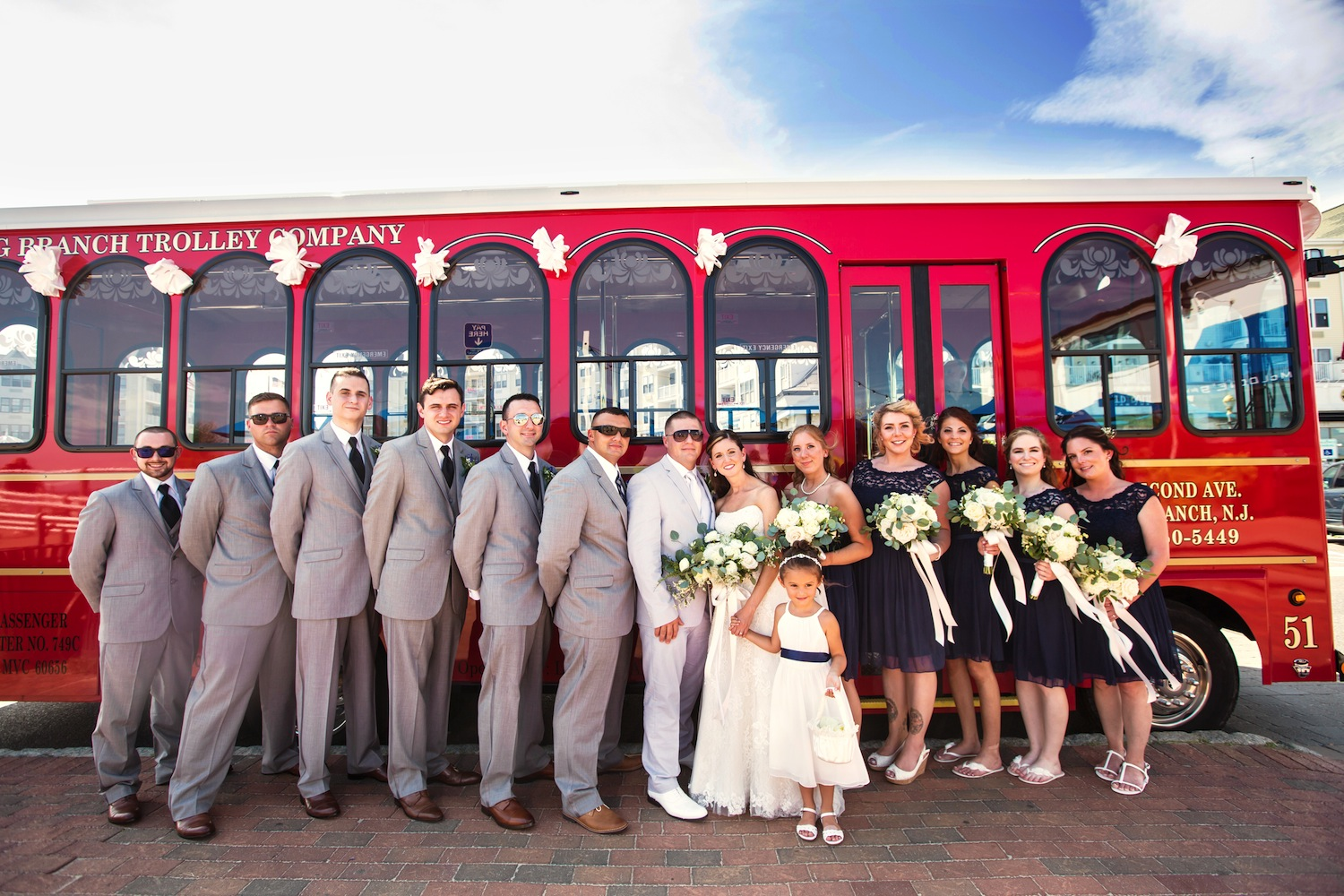 odd-numbered-wedding-party-in-front-of-trolley-outside-nj-wedding-photography