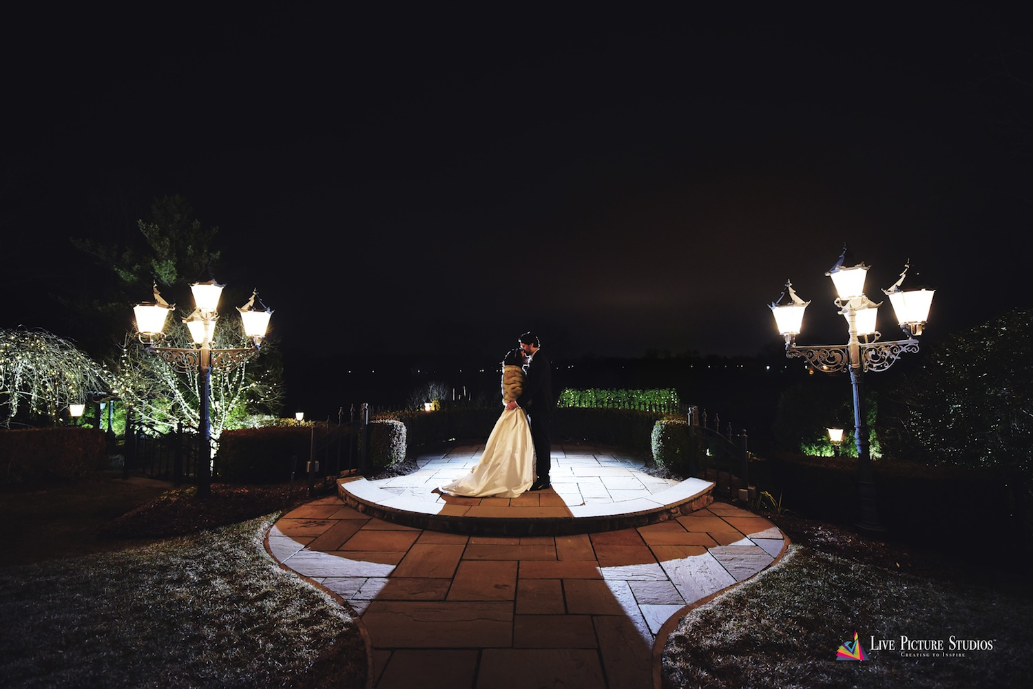 dolly-and-jordan-embracing-outside-at-night-new-jersey-wedding-photos