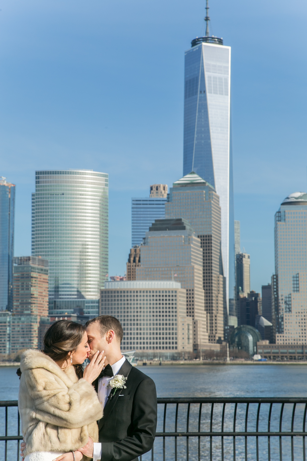 Jacqueline&Cory-standing-outside-by-nyc-skyline-wedding-photography-nj