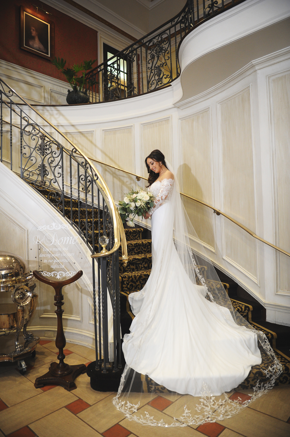 ariann-in-dress-on-stairs-wedding-photography-nj