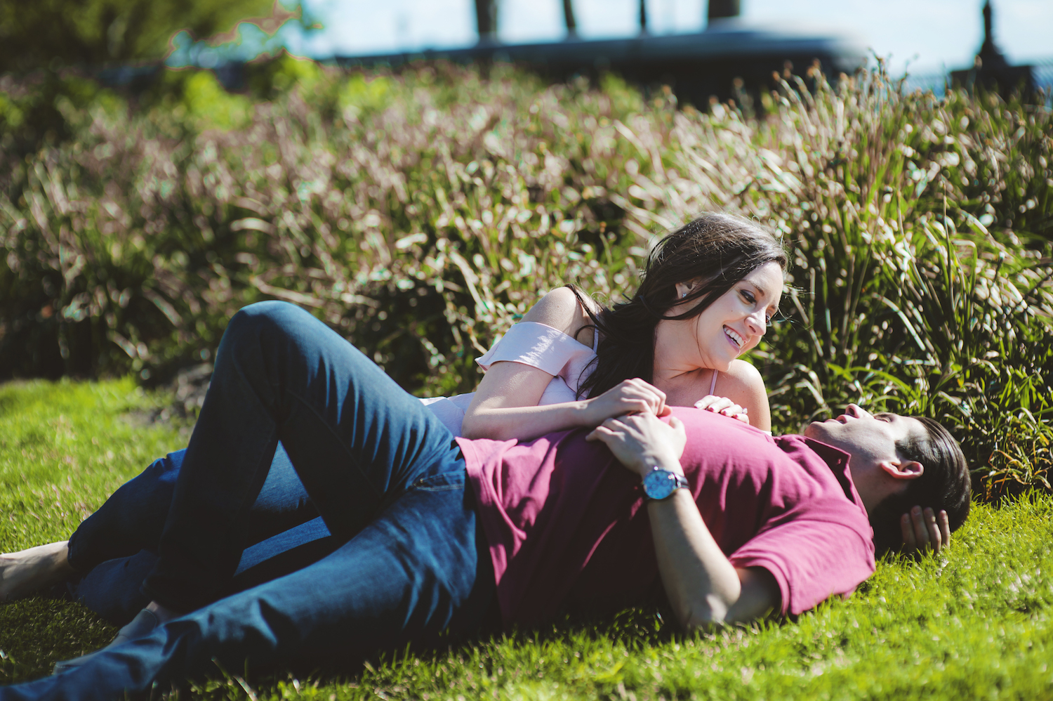clarissa&jesse-lying-on-grass-engagement-photography-nyc