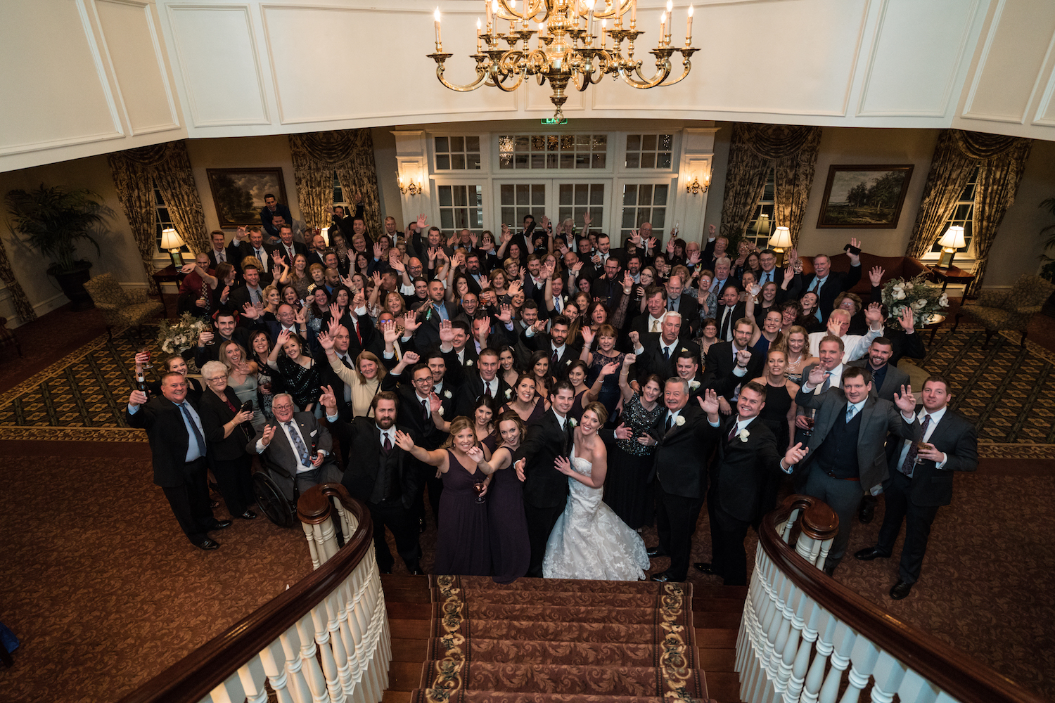 richard&kelly-all-guests-waving-wedding-photographers-nj