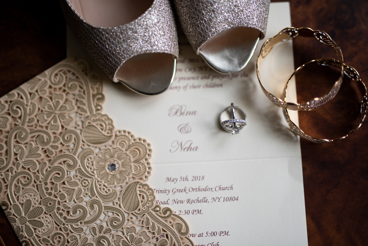 ny-wedding-photographers-neha&binu-invitation-shoes-jewelry-bride-prep